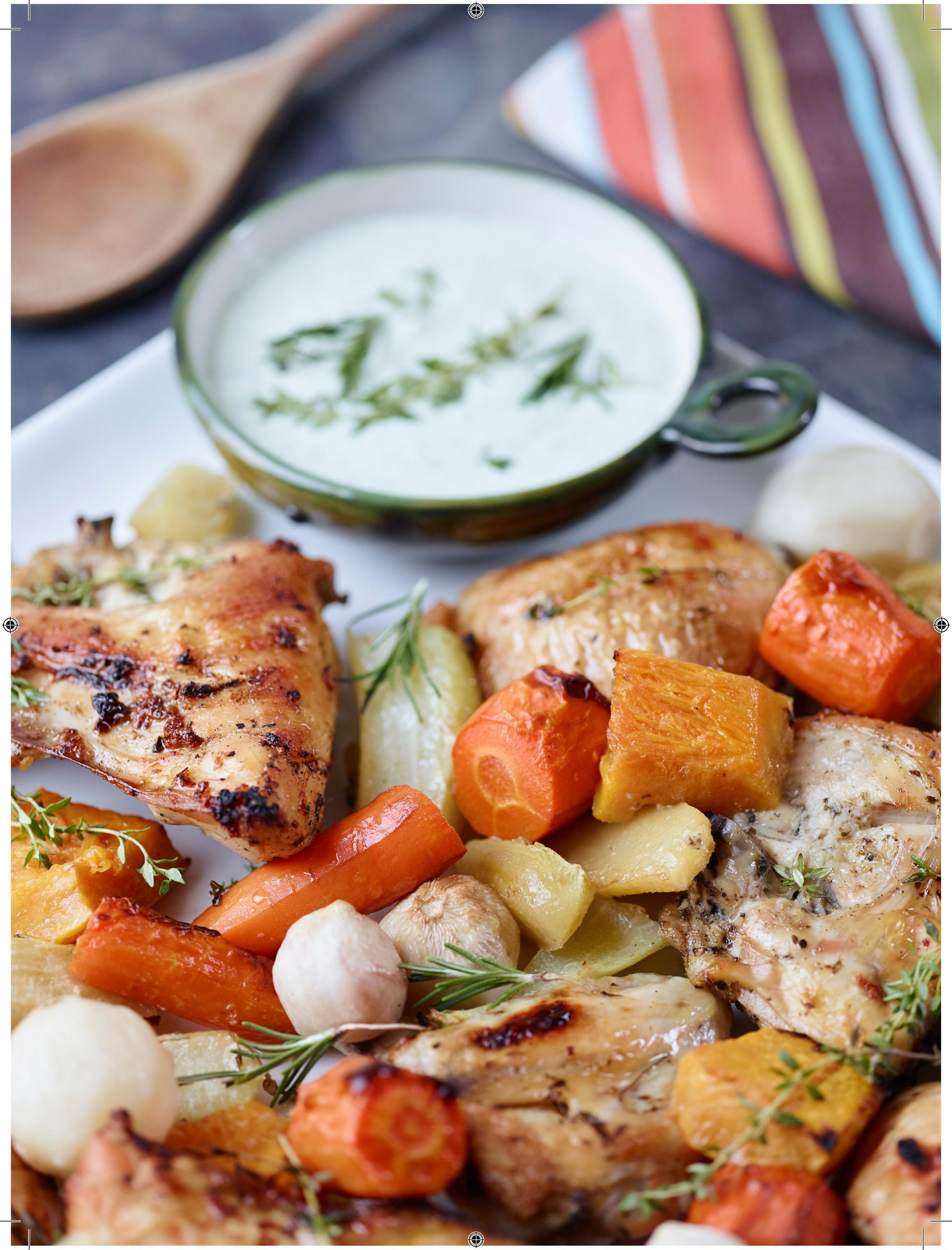 Golden Roast Chicken with Jamaican Market Vegetables