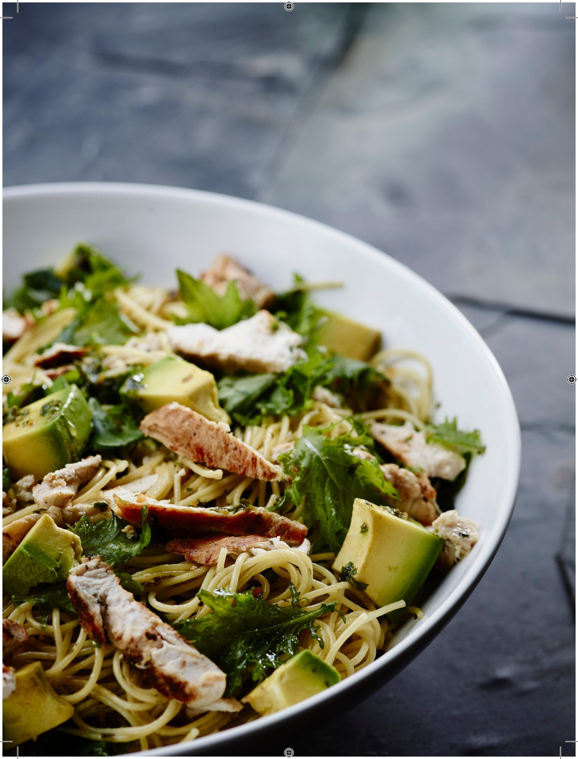 Chicken, Avocado and Kale Spaghetti