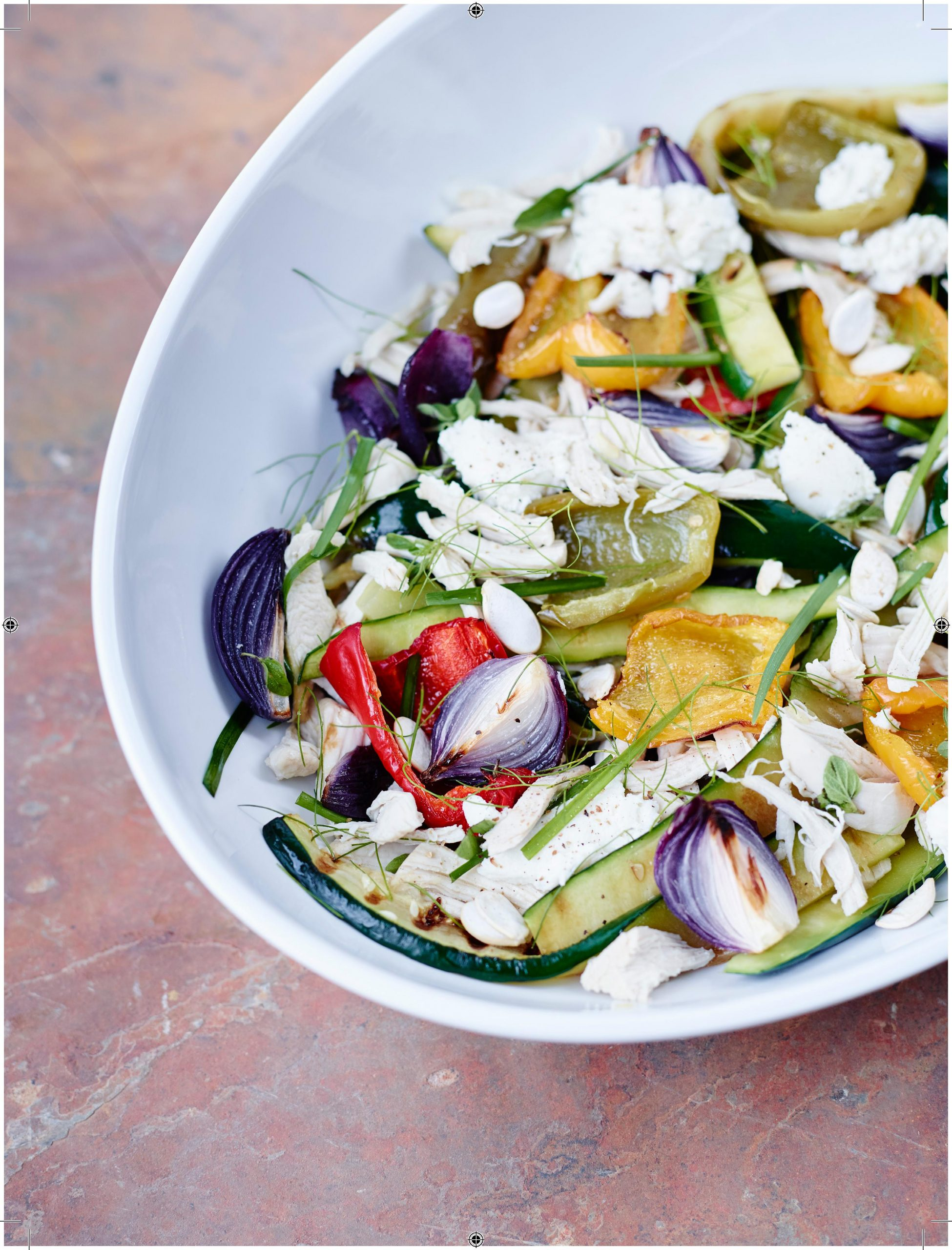Grilled Pepper and Poached Chicken Salad
