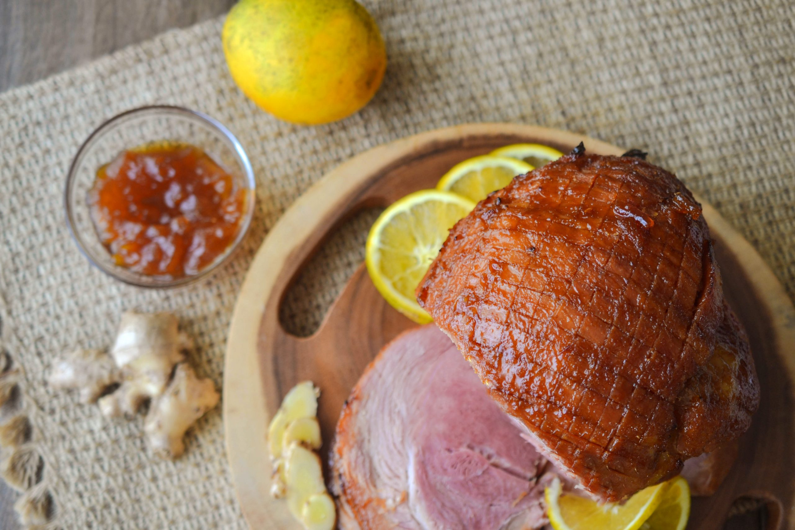 Orange Ginger Glazed Ham