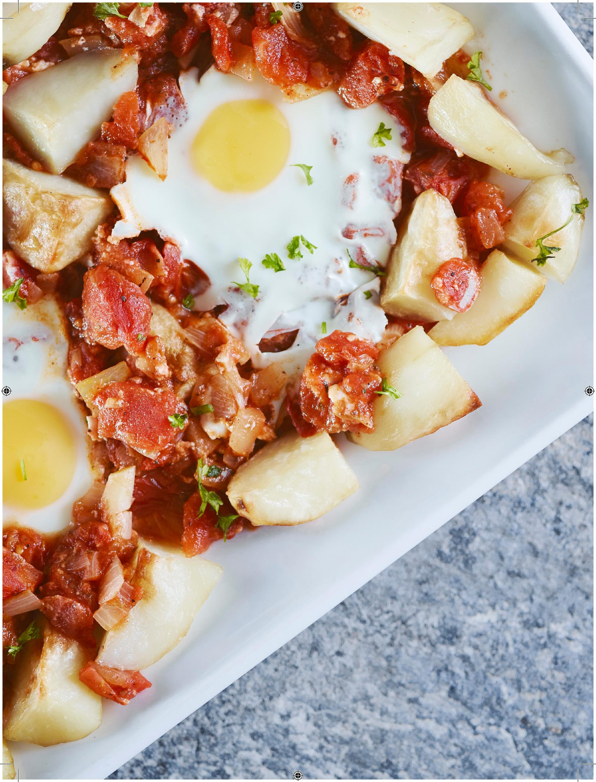 Oven Poached Eggs in Jerk Tomato Sauce