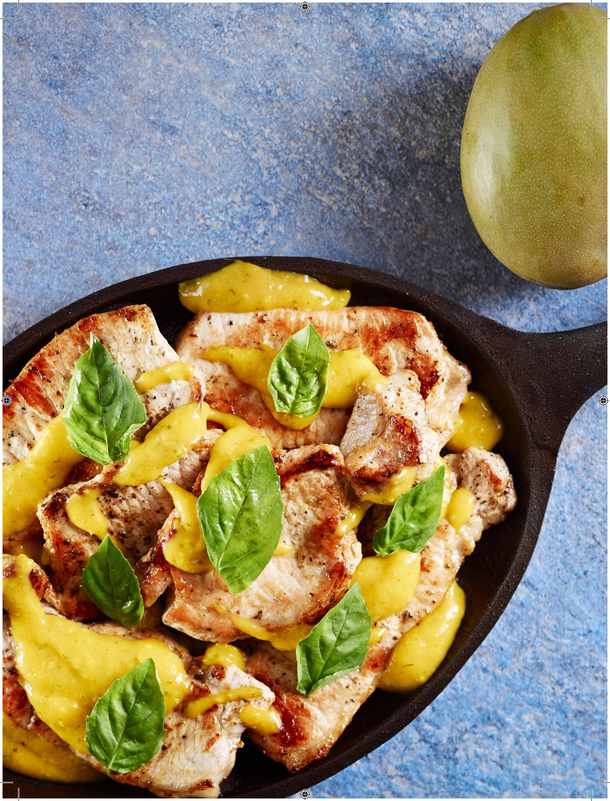 Pork Loin Chops with Mango Basil Sauce
