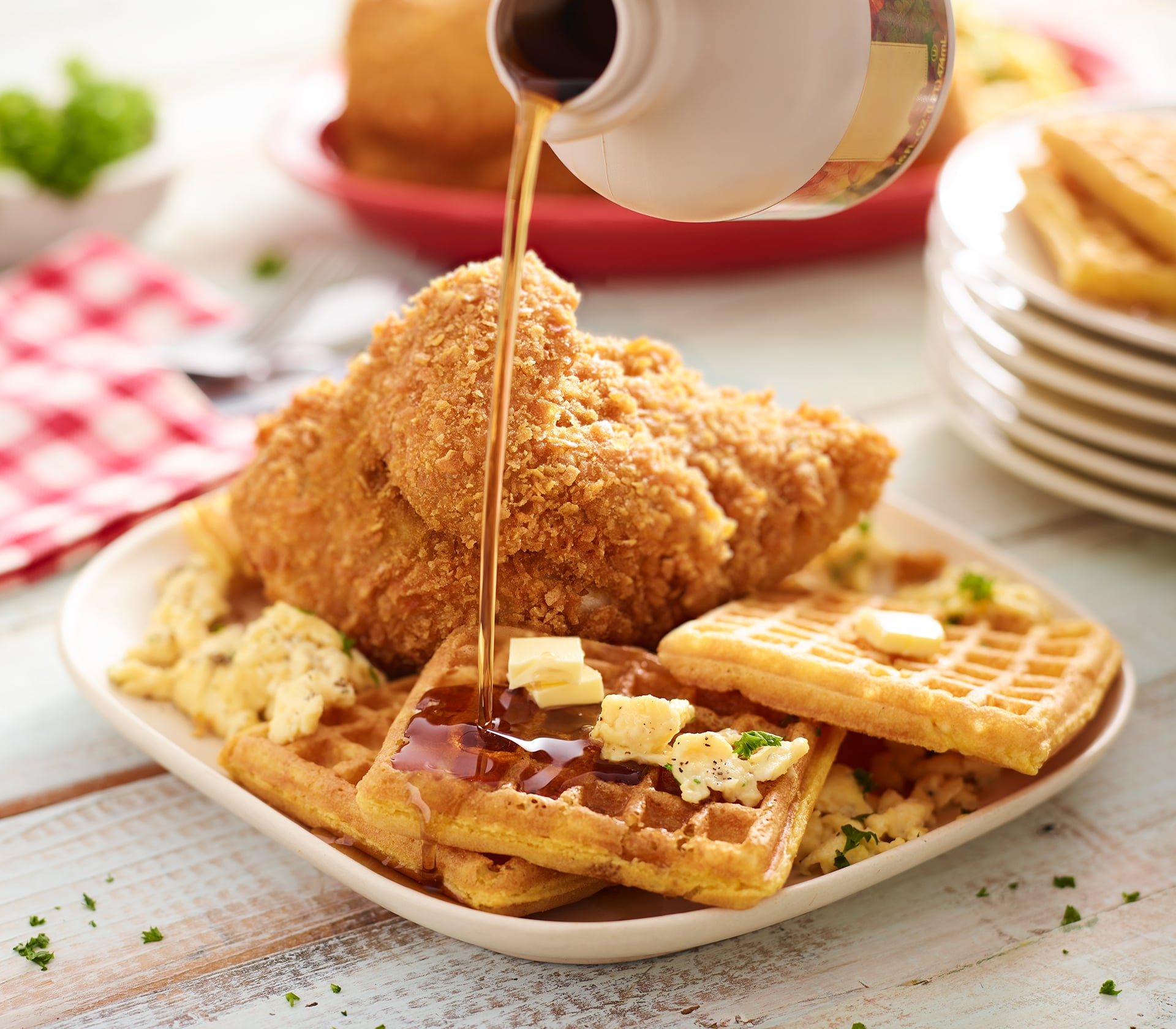 Butter Fried Chicken and Waffles