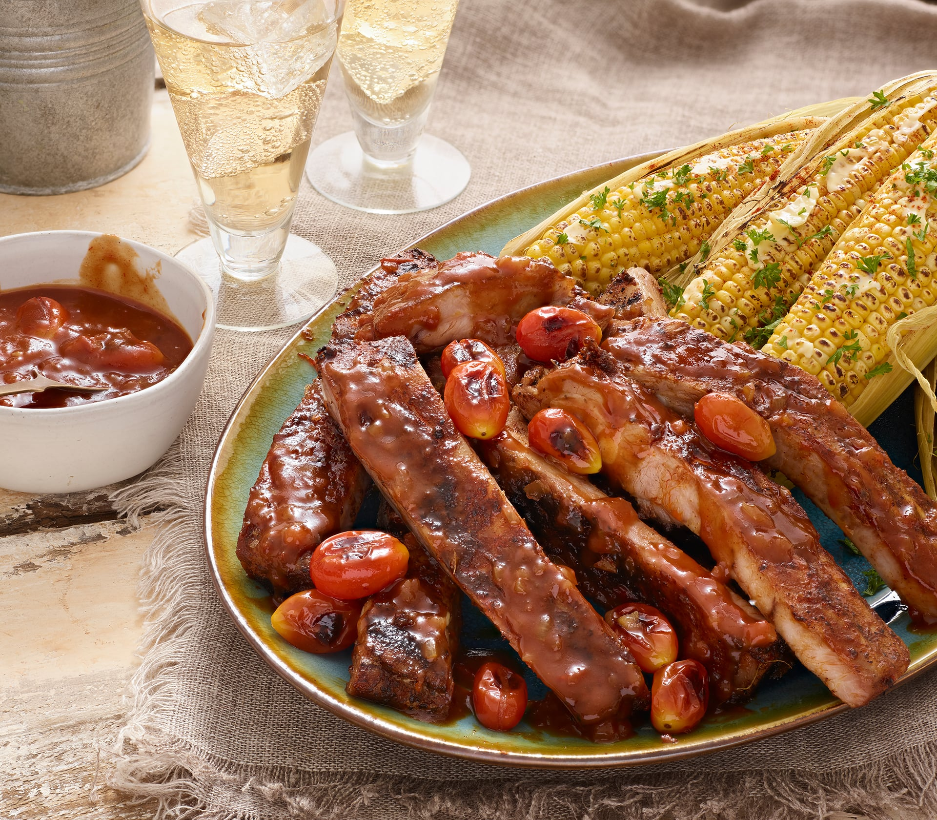 Southern BBQ Ribs with Grilled Sweetcorn
