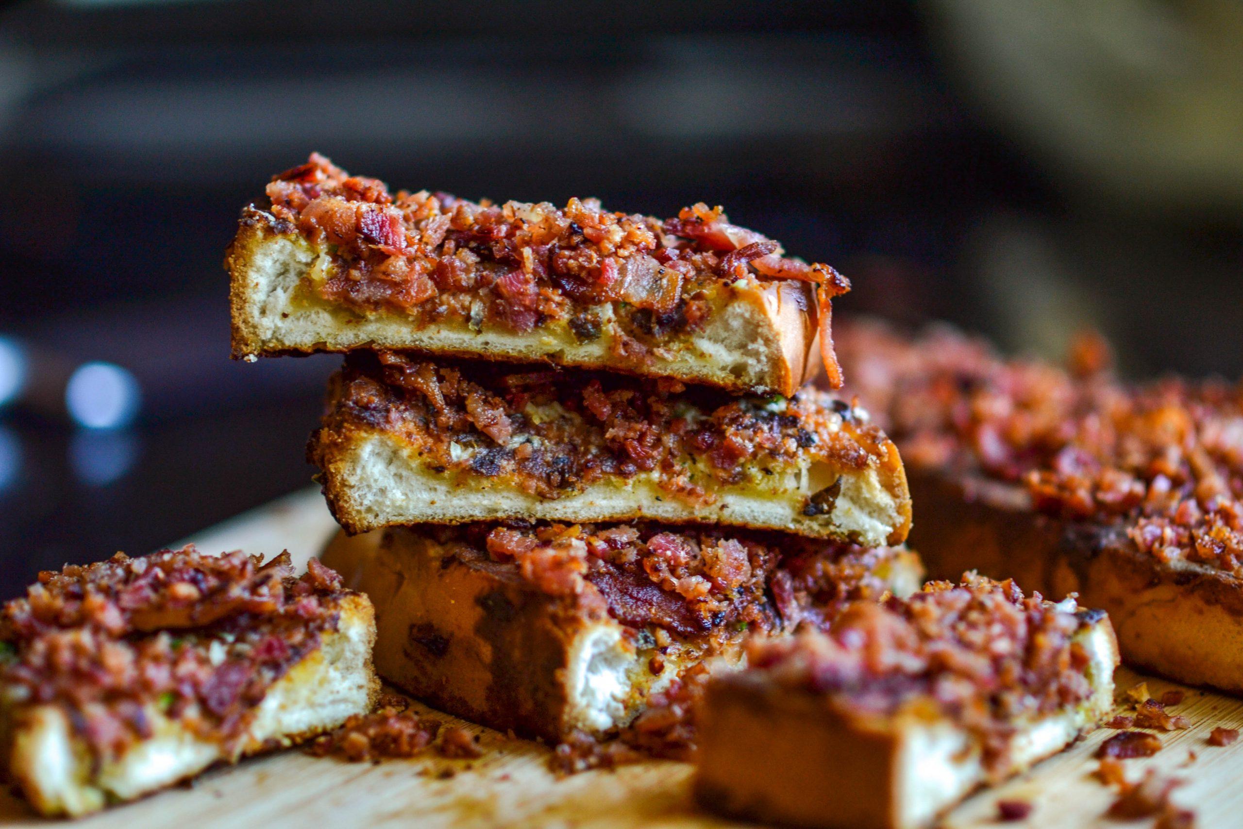 Bacon Crusted Garlic bread
